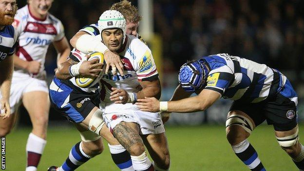 Sam Tuitupou in action for Sale Sharks against Bath
