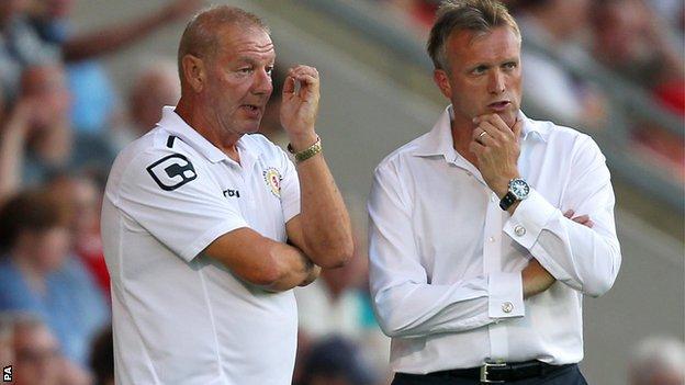 Crewe Alexandra assistant manager Neil Baker (left) and manager Steve Davis (right)
