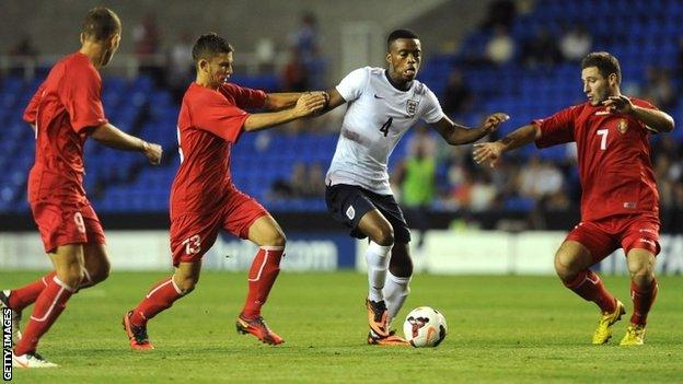Nathaniel Chalobah, on loan at Nottingham Forest from Chelsea, in action for England U21s