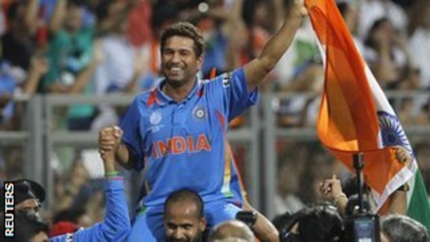 Sachin Tendulkar celebrates India's World Cup win in 2011