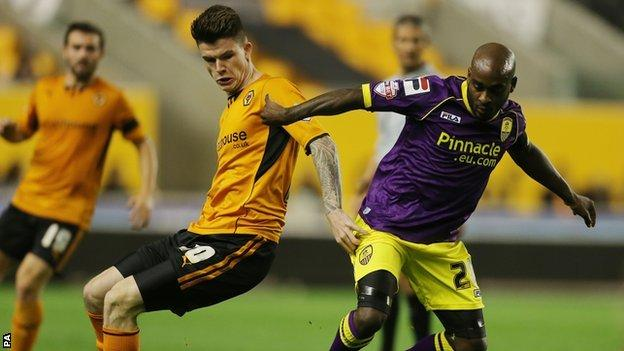 Wolves striker Liam McAlinden in action against Notts County in the Johnstone's Paint Trophy