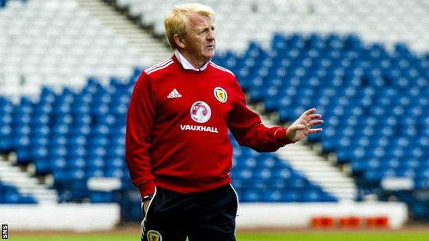 Scotland manager Gordon Strachan during a training session at Hampden