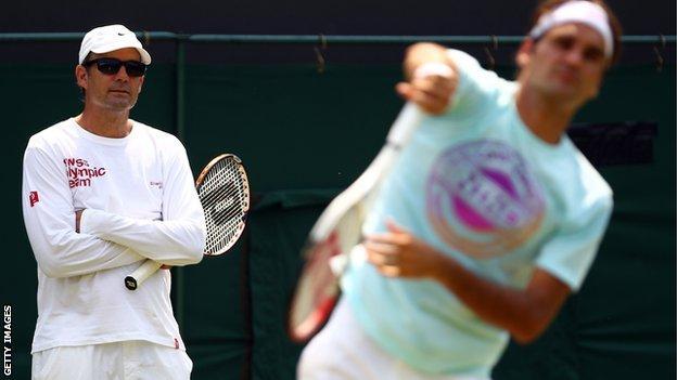 Paul Annacone and Roger Federer