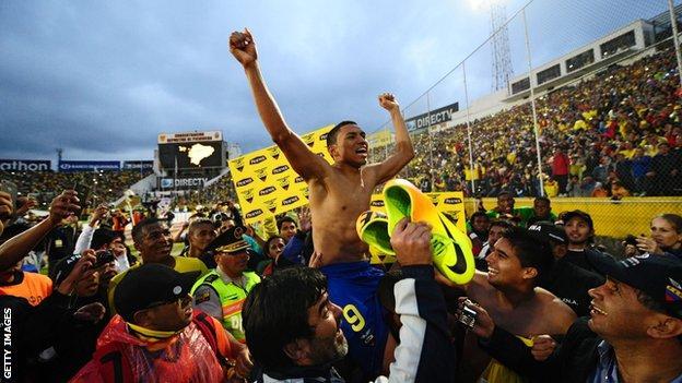 Ecuador players celebrate