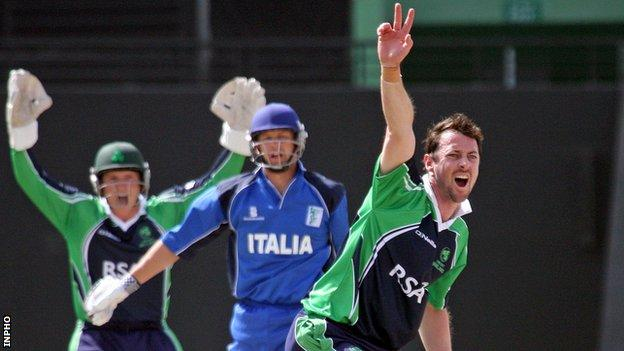 Alex Cusack appeals for a lbw against Italy