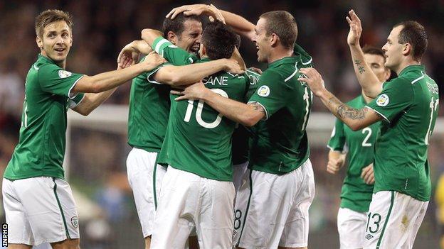 John O'Shea is congratulated after putting the Republic 2-1 ahead