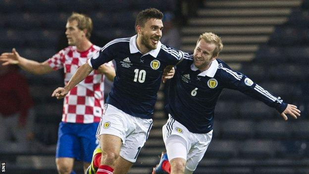 Robert Snodgrass celebrates his goal for Scotland with Barry Bannan