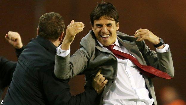 Chris Coleman celebrates Aaron Ramsey's goal