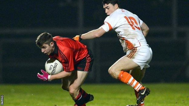 Down's Ryan Boyle and Armagh's Caolan Rafferty battle in this season's McKenna Cup game