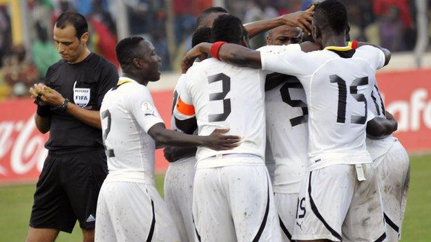 Ghana celebrate after scoring a goal against Egypt