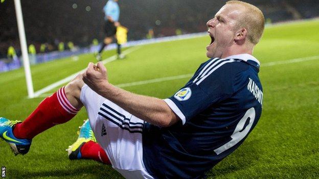 Steven Naismith celebrates scoring Scotland's second goal against Croatia