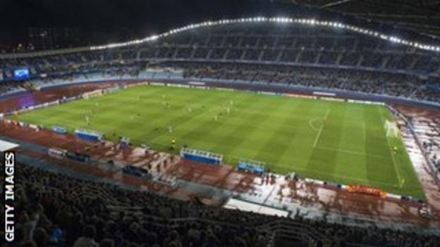 The Anoeta Stadium hosting an evening match.