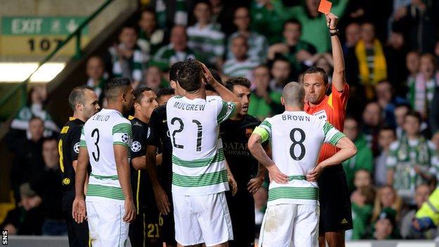 Celtic midfielder Scott Brown is sent off against Barcelona