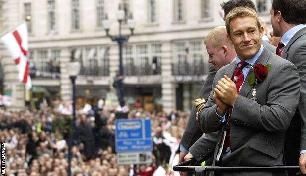 Jonny Wilkinson at England's rugby union World Cup victory parade