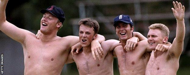 Andrew Flintoff, Graeme Swann, Michael Vaughan and Darren Maddy on an England A tour of Zimbabwe