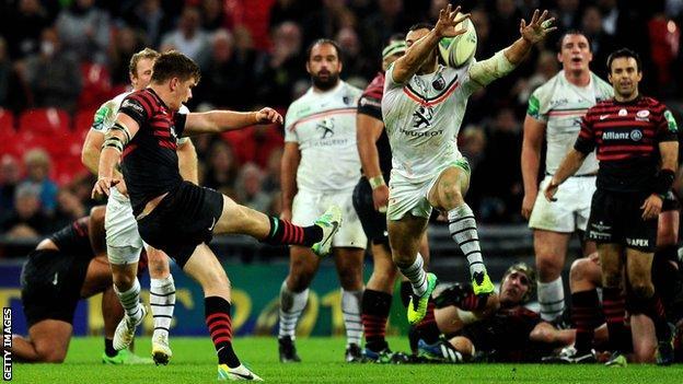 Owen Farrell tries to land a match-winning drop-goal