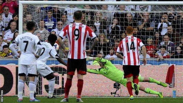 Wilfried Bony scores a penalty for Swansea against Sunderland