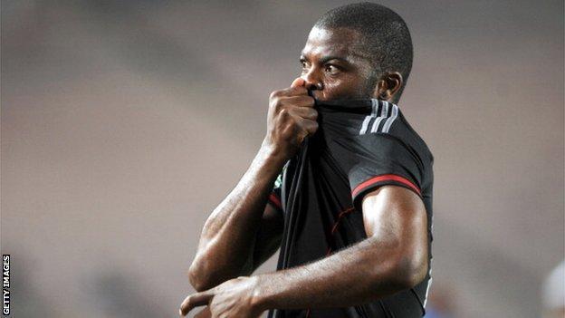 South Africa's striker Petros Mahamutsu