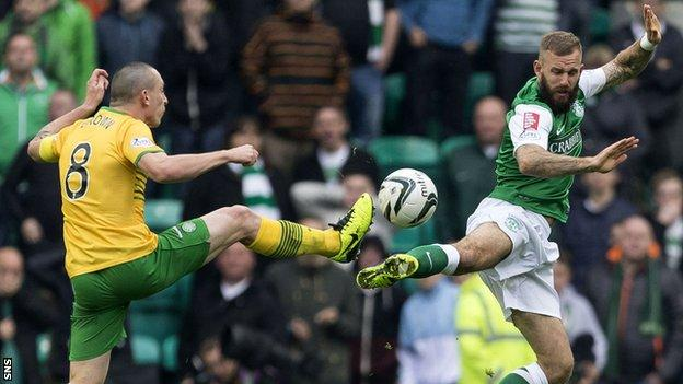 Celtic midfielder Scott Brown and Hibs forward Rowan Vine in a high challenge
