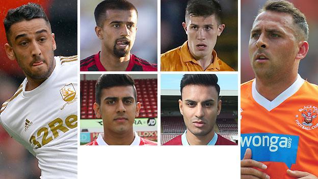 Clockwise from left: Neil Taylor, Adil Nabi, Danny Batth, Michael Chopra, Kashif Siddiqi and Malvind Benning