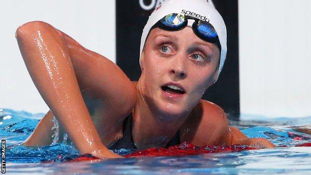Francesca Halsall in action in the World Championships in Barcelona.