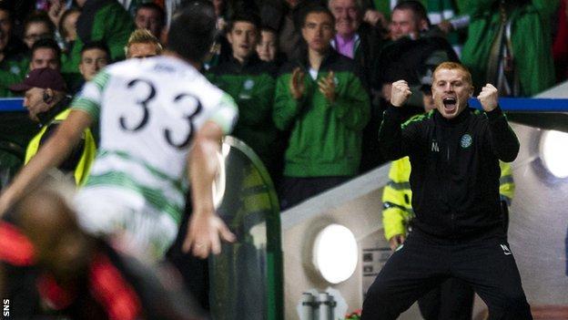 Celtic manager Neil Lennon celebrates as Beram Kayal scores