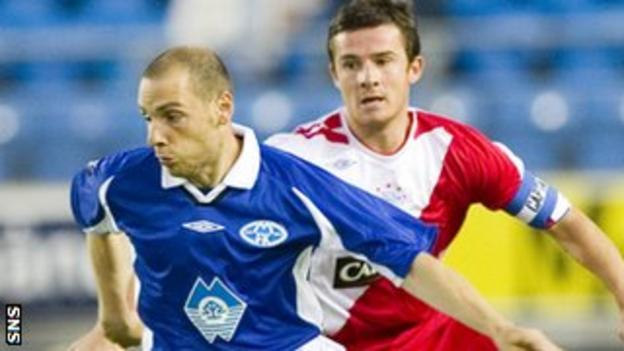 Molde's Sandro Grande and Rangers' Barry Ferguson