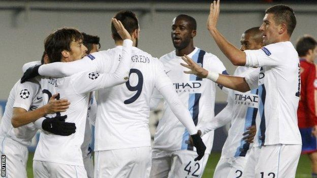 Manchester City celebrate their opener