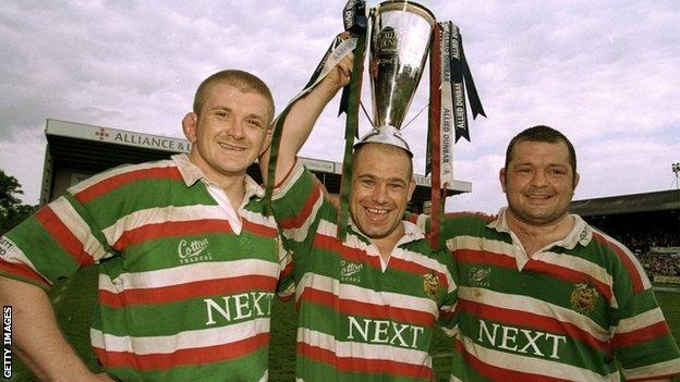 Leicester's famous ABC front row of (left to right) Graham Rowntree, Richard Cockerill and Darren Garforth