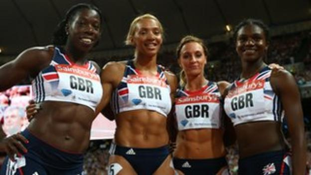 The GB 4x100 squad (from left) Anyika Onuora, Ashleigh Nelson, Annabelle Lewis and Dina Asher Smith at the Olympic Anniversary Games last July