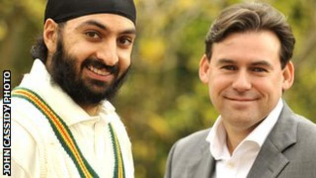 Monty Panesar with Neil Burns