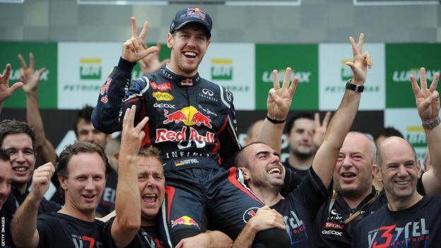 Sebastian Vettel at the 2012 Brazilian Grand Prix