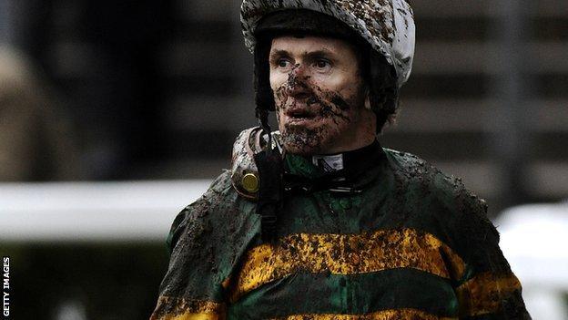 AP McCoy covered in mud