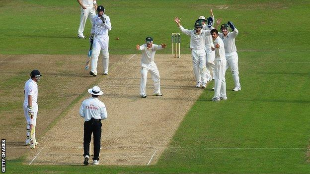 Stuart Broad is given not out at Trent Bridge