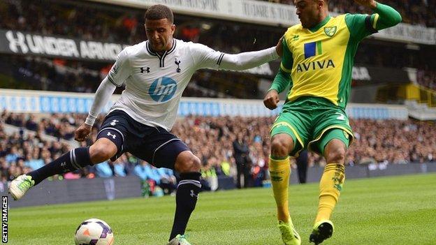 England international Kyle Walker in action for Tottenham Hotspur