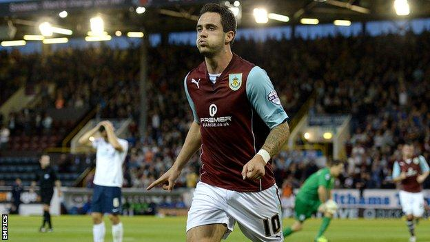 Danny Ings celebrates a goal for Burnley