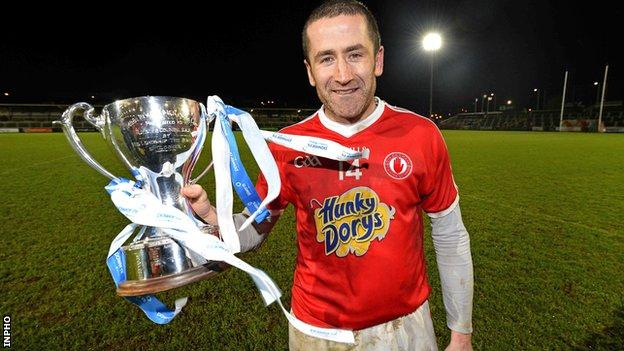 Victorious Tyrone captain Stephen O'Neill with the McKenna Cup
