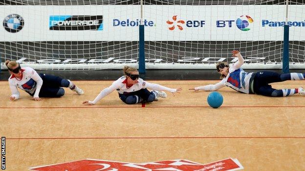 GB goalball players Anna Sharkey, Georgie Bullen and Jessica Luke