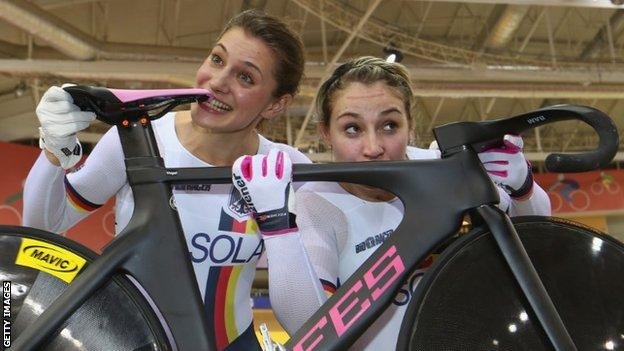 Miriam Welte and Kristina Vogel with bike