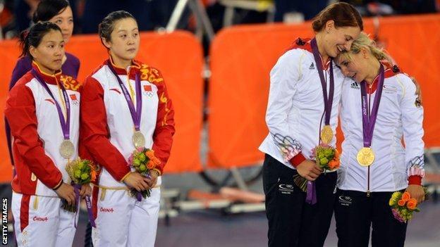 Miriam Welte and Kristina Vogel on London 2012 podium