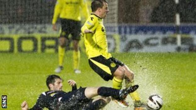 Ross County's Rocco Quinn challenges St Mirren's Paul McGowan