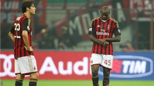 AC Milan's Kaka and Mario Balotelli