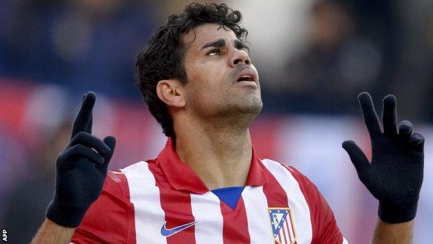 Diego Costa celebrates for Atletico Madrid