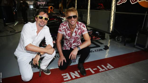 Matt Bellamy and Dominic Howard of Muse visit the Infiniti Red Bull garage