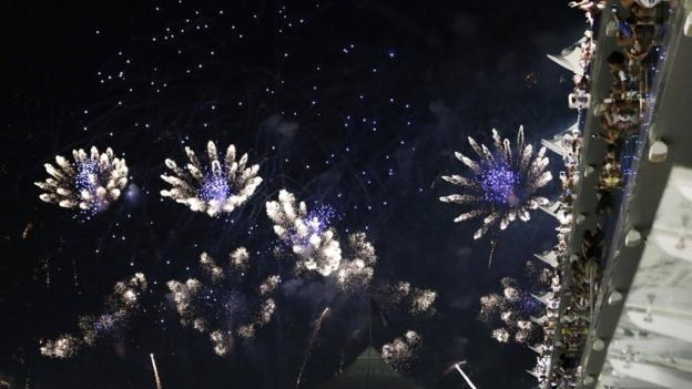 Fireworks explode at the end of the Abu Dhabi Grand Prix