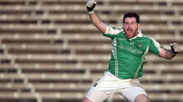 Roslea forward Seamus Quigley jumps with delight after his injury-time penalty secures a 1-12 to 0-11 win over Ballinagh