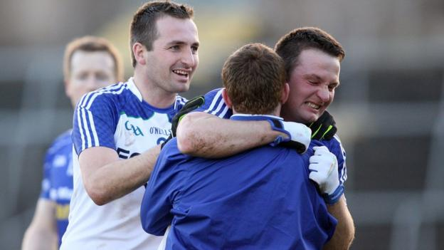 Ballinderry goalscorer Darren Conway celebrates after the 1-8 to 0-10 success against Scotstown