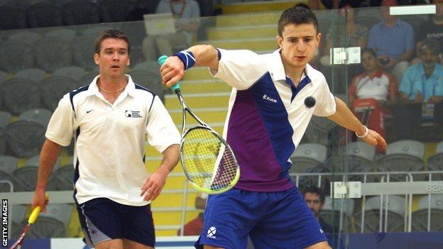 Scottish squash player Alan Clyne in action at the 2010 Commonwealth Games
