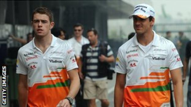Force India drivers Paul di Resta and Adrian Sutil prior to the grand prix