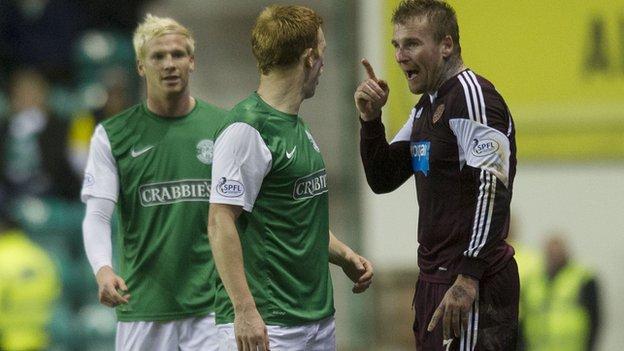 Hibernian midfielder Liam Craig is accused by Hearts player Ryan Stevenson